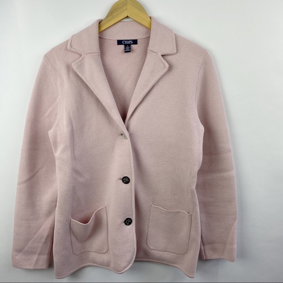 Chaps blush blazer with silver buttons
